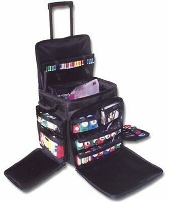 New Scrapbook Rolling Tote Organizer Bag Wheels Crafts Storage Luggage Travel