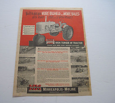 """1952 Minneapolis Moline Avery """"BF"""" Tractor large full page ad"""