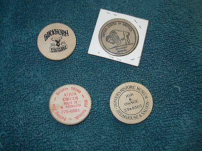 4 Wood Wooden Nickel Nickels Aqua Circus Buckhorn Denver Pleasure Show