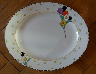 "Burleigh Ware 12"" Fragrance Floral Flowers Art Deco Meat Serving Dish Platter VG"
