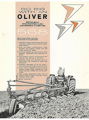 1960's Oliver 568 7 And 8 Bottom Semi-Mounted Plow Brochure
