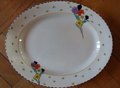 "Burleigh Ware Art Deco Fragrance Floral 14"" Meat Platter Serving Dish Plate VGC"
