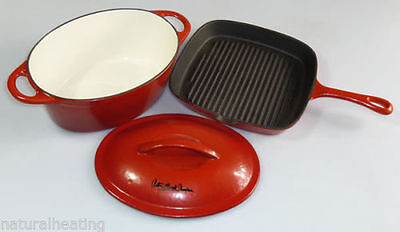 Cast Iron Casserole + Skillet Set RED enamelled Antony Worrall Thompson pan fry