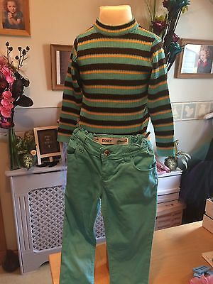 Girls Skinny Turquoise Skinny Jeans & Skinny Rib Jumper Top 7-8 Years Outfit