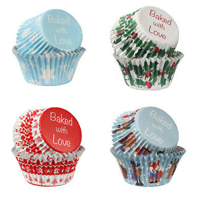 Christmas Baking Cases Cupcake Cases Foil Lined - Baked With Love - 4 designs