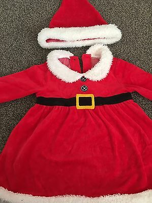 Baby Girls Christmas Outfit Dress And Hat Little Santa 12-18 Mths