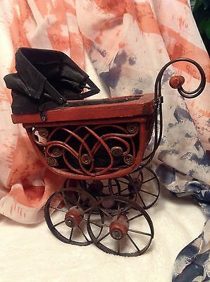 Antique Style Victorian Baby Buggy Stroller Doll Carriage Rustic Planter