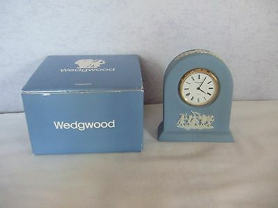 Wedgwood Blue Jasper ware clock 8.5 cms tall in Original Box