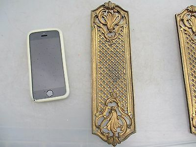 Vintage Brass Finger Plate Push Door Handle Pierced Gilt Leaf French Rococo Old