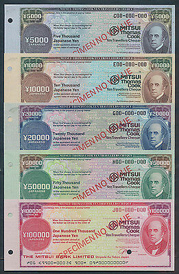 Japan: 1970s Mitsui Bank & Thomas Cook. RARE SET 5 SPECIMEN TRAVELLERS CHEQUES