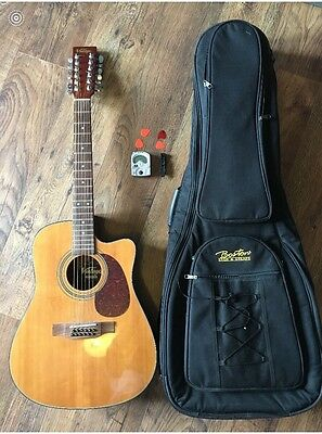 vintage 12 string guitar with case and electric tuner