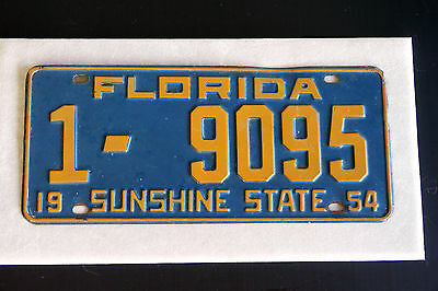 Original full-sized 1954 Florida license plate Good vintge condition Dade County