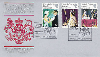 Turks & Caicos Islands 1977 Silver Jubilee Official First Day Cover Shs Cancel