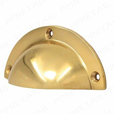 POLISHED SOLID BRASS Kitchen Cupboard Door Cabinet Drawer Shell Cup Pull Handle