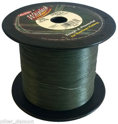 NEW Berkley Whiplash Bulk Spool Dyneema Moss Green Braid 20lb 30lb 2000M