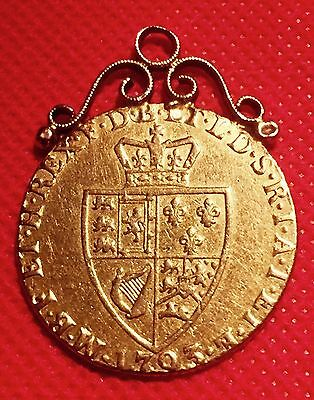 ⭐️1793 George Iii Full Gold Guinea With Ornate Upper Bale Ideal Fob Or Pendant⭐️