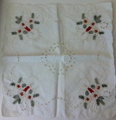 Hand Stitched Christmas Square Table Scarf Green and Red Candles and Flowers