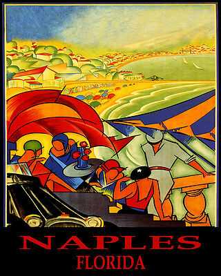 Poster Naples Florida Beach Party Sailing Summer Travel Vintage Repro Free S/h