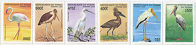 Chad, Birds, Flamingo, Stork, Topical Stamp Set, 6 Diff. Stamps, Scott#775-80