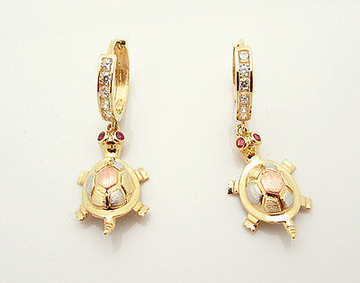 10k Tri Color Gold Turtle Earrings