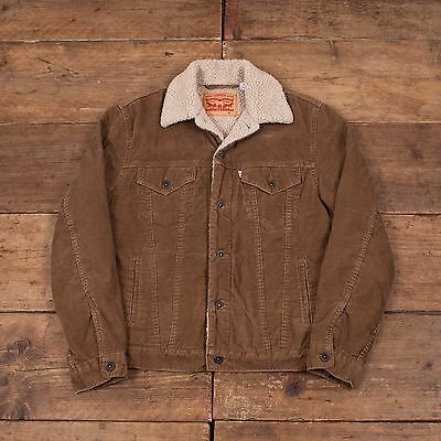 "Mens Vintage Levis Fur Lined Sherpa Cord Corduroy Jacket Size S/M 38"" R4332"