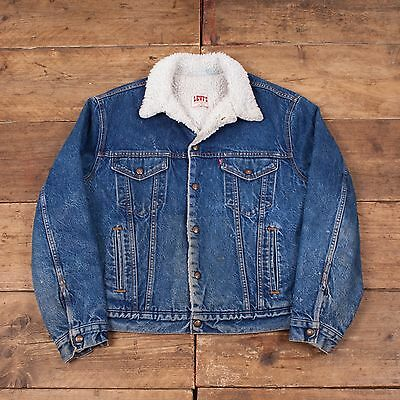 "Mens Vintage Levis Fur Lined Blue Denim Sherpa Jacket Size L 46"" R4339"