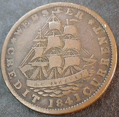 1841 WEBSTER HARD TIMES Token | USS Constitution | NOT FOR ONE CENT FOR TRIBUTE