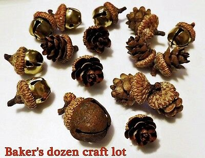 CRAFTER's 13 pc. LOT BELLS & REAL PINECONE ACORNS with CAPS for FALL DECORATING