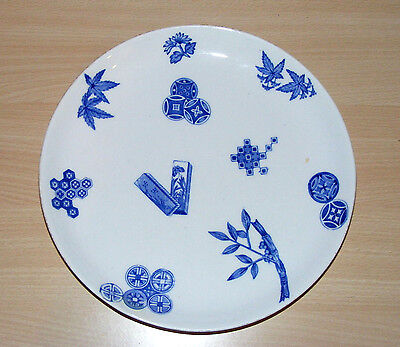"""Antique C.1878 Royal Worcester Aesthetic Movement Blue & White 9"""" Plate Restored"""