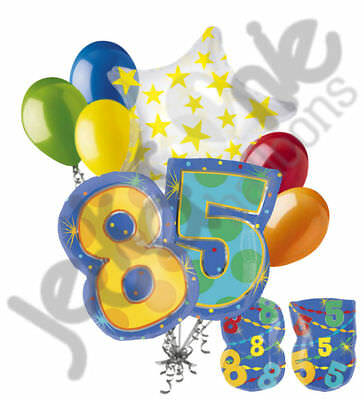 8 Pc 85th Birthday Theme Balloon Bouquet Party Decoration Number Primary Color