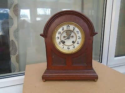 lovely antique wooden mantle clock with enamel face & unusual fist latch   LOOK