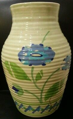Clarice Cliff Bizarre Ribbed Green And Blue Large Vase