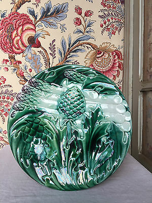 Wonderful Antique French Majolica Artichokes Asparagus Luneville Plate C1880