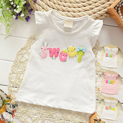 Cute Baby Girls Toddler Kids Summer Sleeveless Party Top T-shirt Vest Blouse Tee