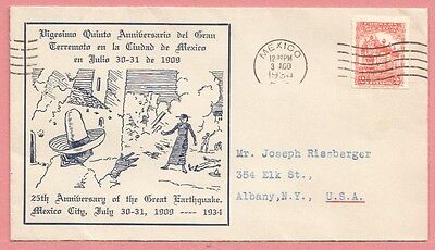 1934 Mexico 25Th Anniversary Of Great Earthquake Cachet Cover