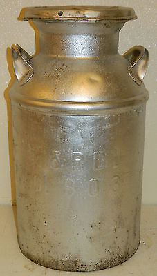 "Vtg Metal Milk Can Dairy Advertising Farm Country Rustic Decor 24"" Antique Old"