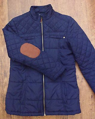 NEXT Quilted Navy Blue,Jacket Coat with Elbow Patches Age 13/14 or UK 10/12