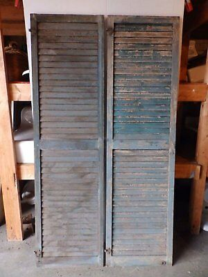Two Large Wide Antique Shutters Door Window Louvered Vintage Old 22x79 2306-16