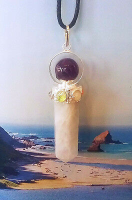 Gorgeous Moonstone And Amethyst Crystal Chakra Stone Silver Pendant,with Chain