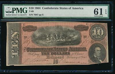 AC T-68 $10 1864 Confederate Currency CSA PMG 61 EPQ UNCIRCULATED