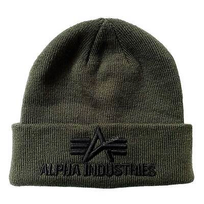 Alpha Industries 3D Beanie weicher Acrylstoff 3D Stickerei warme Wintermütze neu