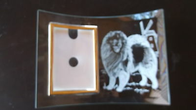 Keeshond- Hand Engraved Freestanding Glass Photo Frame by Ingrid