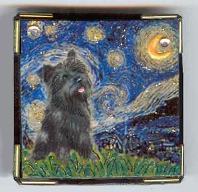 PIN-MAGNET COMBO - Starry Night with a Brindle Cairn Terrier-adapted by artist