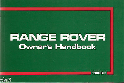 Range Rover Official Owners Handbook / User Manual 1986-1987 LSM129HB *NEW