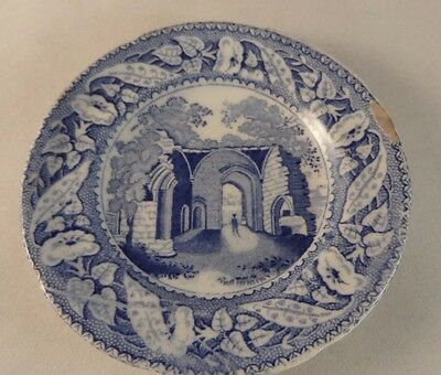 "Minton Miniature Series 3.5"" Blue White Pin Trinket Dish Plate Kenelworth Priory"