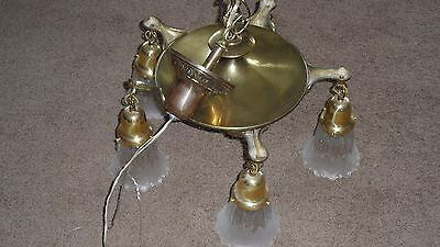Antique Hanging Brass chandelier vintage light fixture 5 arm Art Deco w Shades