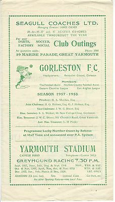 GORLESTON F C v NORWICH CITY A  57-8 Eastern Counties League Programme