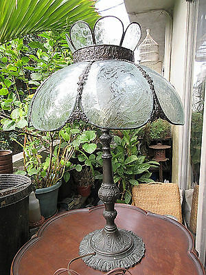 """27"""" Antique 8 Panel Acid Etched Glass & Brass Victorian Electric Table Lamp Fine"""