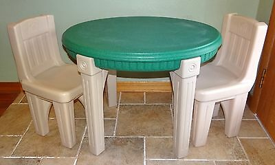 STEP 2 Child's Green Oval Table & 2 Chairs Plastic Furniture Desk Kitchen Play