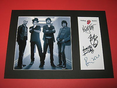 Rolling Stones A4 Photo Mount Signed Autograph Reprint  Mick Jagger Ronnie Wood